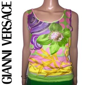 Gianni Versace Floral Sleeveless Blouse